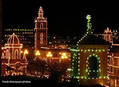 KC Plaza entertainment district lit up for Christmas.